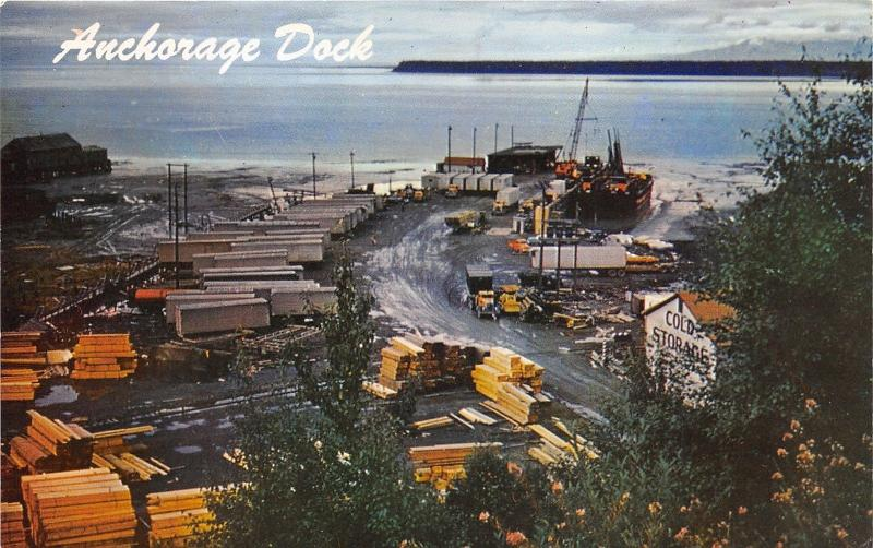 Anchorage Alaska Dock~Cook Inlet & Turnagain Arm~Lumber~50s Trucks & Crane