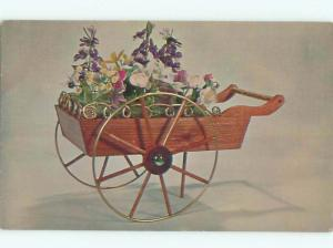 Pre-1980 This Is A Postcard FRENCH FLOWER CART BY NATIONAL HANDCRAFT AC7230
