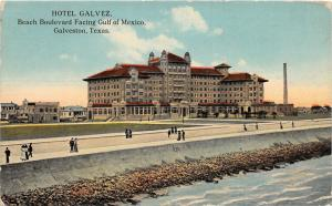 F14/ Galveston Texas Postcard c1910 Hotel Galvez Beach Boulevard 22