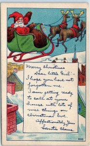 Vintage Christmas Postcard SANTA CLAUS Sleigh / Flying Reindeer w/ 1909 Cancel