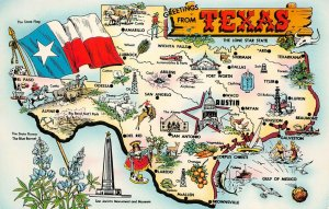 LPM30 Texas Map Chrome Postcard The Lone State State