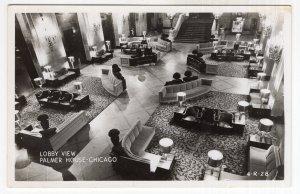 Chicago, Lobby View, Palmer House, RPPC