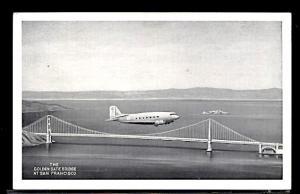 Aviation Airplane DC 3 Flying Over the Golden Gate Bridge San Francisco c.1938