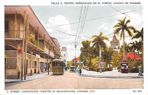 Panama Old Vintage Antique Post Card C Street Variadades Theatre in Backgroun...