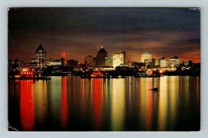 Vancouver BC- British Columbia, Skyline at Night, Chrome c1966Postcard