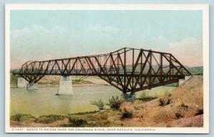 Postcard CA Needles Santa Fe Bridge Over Colorado River Fred Harvey P12