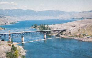 Aerial View of Bridge at Kamloops Lake, Along TransCanada Highway, British Co...