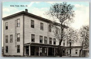 Buda Illinois~Hotel Voigt~Rocking Chairs on Long Porch~Little House~c1910