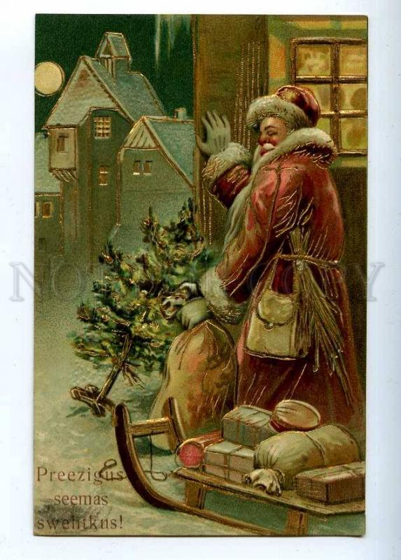 202805 Red SANTA CLAUS Sled MOON Vintage EMBOSSED NEW YEAR PC
