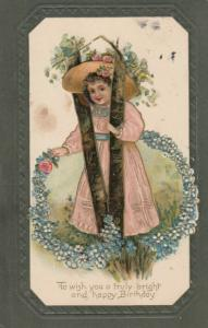 BIRTHDAY GREETINGS, 1909; Girl in V of tree, ring of flowers, Embossed