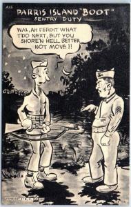1940s WWII PARRIS ISLAND BOOTS Postcard A15 SENTRY DUTY Marines USMC SC Unused