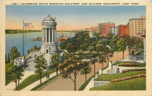Riverside drive showing soldiers and sailors monument New York 1939 postcard