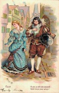 Romantic Couple Big Dress Embossed Vintage Postcard 06.58