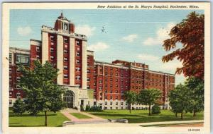 Rochester, Minnesota Postcard New Addition of ST. MARY'S HOSPITAL Linen 1946