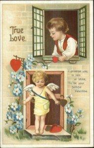 Unsigned Clapsaddle Valentine Cupid at Door Child in Window c1910 Postcard #2