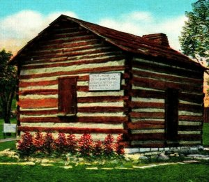 Cabin In Which Parents of Abraham Lincoln Married Old Kentucky Linen Postcard