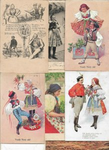 Czech Republic Folklore Costumes Traditional Clothing Postcard Lot of 18 - 01.02