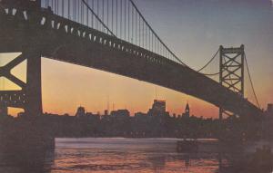 Delaware Bridge amd Philadelphia sunset, Pennsylvania, PU-1954