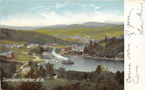 Sunapee Harbor New Hampshire~Bird's Eye View Showing Steamer on River~1906 PC