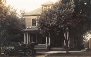 Real Photo Postcard~Nice Vintage Car @ American Square House~c1912 RPPC