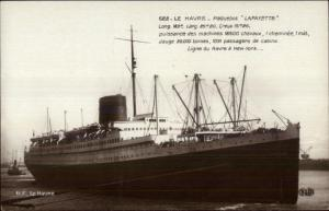 Steamer Ship Steamship Le Havre Paquebot Lafayette c1915 Real Photo Postcard