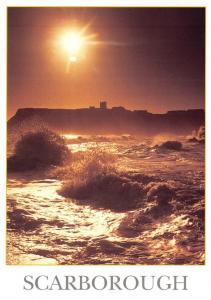 Postcard SCARBOROUGH Rough Sea & Castle, North Yorkshire D26