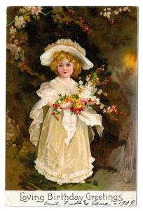 Birthday Greetings Edwardian Girl in White w Flowers