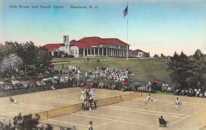 Club House & Tennis Courts, Pinehurst, N.C., Early Hand Colored Postcard, Unused