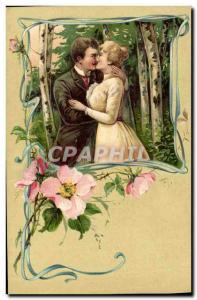 Old Postcard Fantasy Flowers Woman (raised)