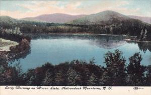 New York Adirondack Mountains Early Morning On Mirror Lake
