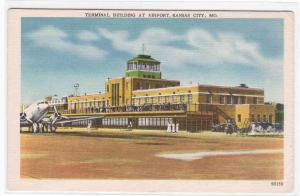 Terminal Plane Airport Kansas City Missouri 1950s postcard