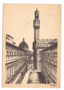 Italy Florence Uffizi Arcade Old Palace Firenze 4X6 Postcard