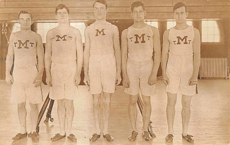 Boston MA Mechanics Building University of Maine Sports RPPC Postcard