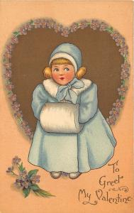 To Greet Valentines Day Blue Dressed Girl Hand Warmer Tuck #126 Postcard