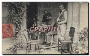Old Postcard The South West workers blind chair in Folklore TOP rattan