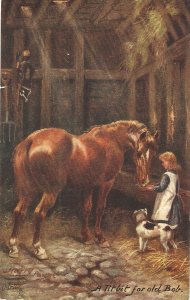 Harry Payne. Rural England..A Titbit for old  Horses  Tuck Oilette PC # 9632