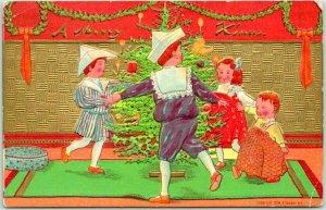 1908 CHRISTMAS Greetings Postcard A Merry X'Mas Children Dancing P. Sander