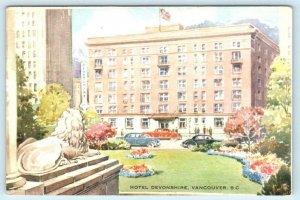 VANCOUVER, B.C. Canada ~ Artist View HOTEL DEVONSHIRE c1940s-50s   Postcard