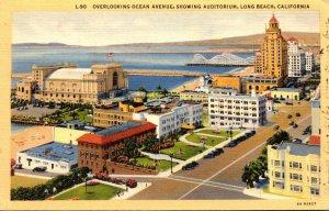 California Long Beach Overlooking Ocean Avenue Showing Auditorium Curteich