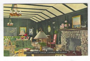 1940's Cambria Pines Lodge, Cambria, California Linen Postcard