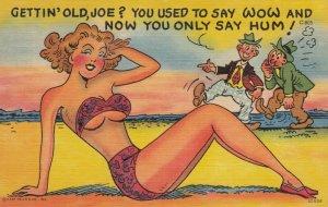 COMIC: Old Men admiring pretty lady in bikini on the beach, 1930-40s