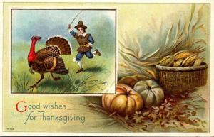 Thanksgiving With Turkey Being Chased By Pilgrim