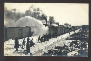 RPPC LAMBERTON MINNESOTA ROTARY SNOW RAILROAD TRAIN REAL PHOTO POSTCARD