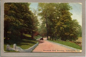 Postcard IN Indianapolis Brookside Park Driveway Horse Carriage c1909 -647