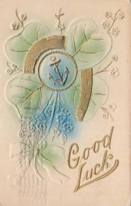 Good Luck, Shamrock, Horse shoe and anchor together, PU-1911