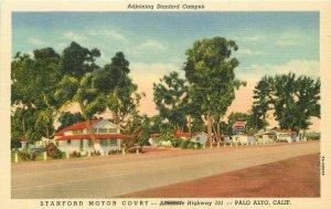 Palo Alto California Stanford Motor Court roadside Teich Postcard 21-5967