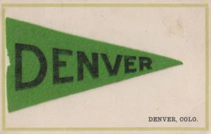 Greetings from Denver Flag REAL FELT Antique Postcard