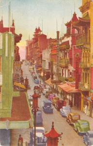 San Francisco California Grant Ave Chinatown Scene Antique Postcard K25634