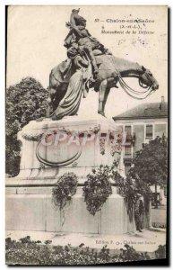 Old Postcard Chalon sur Saone Monument of Defense