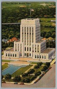 Postcard Houston TX c1947 New City Hall Houston City Hall Art Deco Linen